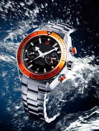 熱い販売新しい海の自動メンズ機械的な海のブラックダイヤルオレンジベゼル腕時計メンズのStasinのない浮いればバックレット