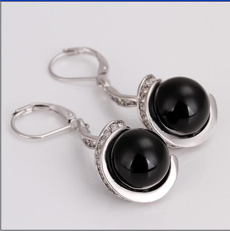 Högsta kvalitet pläterad 18k platina svart pärla droppe örhängen mode smycken gratis frakt 10pair / lot