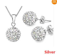 Wholesale Crystal Disco Ball Jewelry Set - Best Price 10mm CZ crystal clay disco ball shamballa necklace earring studs jewelry set mix color