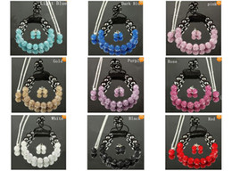 Wholesale cheap disco ball bracelets - Mix colors 10mm crystal clay disco ball shamballa necklace bracelet earring set cheap wholesale gift