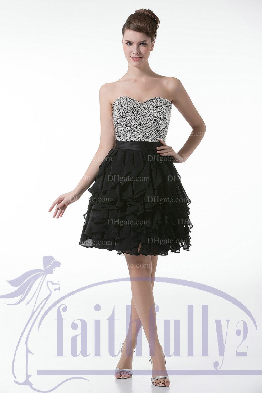 829eb5af6a17 Cóctel Negro vestido corto cariño acanalada lentejuelas blusa cinta  Masquerade vestido en capas que fluye