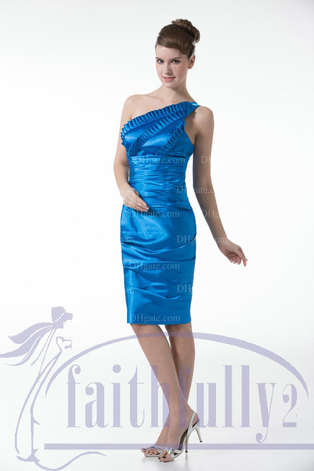 Turquoise bridesmaid dress sheath one shoulder diagonal pleats see larger image ombrellifo Choice Image
