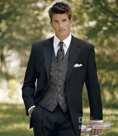 Alta Qualidade Bonito Mens Completo Designer Tuxedo / Noivo jaqueta + Calça + Colete + Gravata ST001
