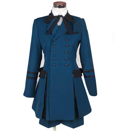 Frete grátis natal preto mordomo ciel phantomhive cosplay traje vestido azul