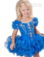 Discount girls wearing tutus blue - Lovely Short Sleeves Organza Flower Girls' Dresses Tutu Little Girl Kids Pageant Party Gowns Short Mini Formal Child Wear 2019