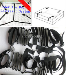 Wholesale Hand Foot Cuffs - Nylon Black Hand Foot cuffs bondage restraints gear for sex adult games toys for men women couples Under the Bed Restraint System XLY1070