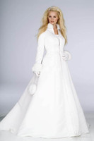 Wholesale Fur Lined Coats - New Arrival Winter Bridal Dress Floor Length Long Sleeve Warm Coat Wedding Dress WDS088