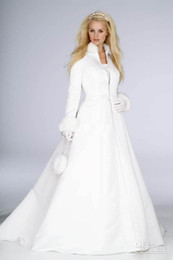 Wholesale Ivory Lace Wedding Coat Dress - New Arrival Winter Bridal Dress Floor Length Long Sleeve Warm Coat Wedding Dress WDS088