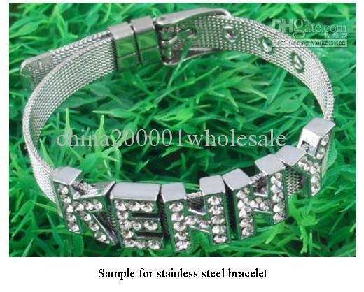 Partihandel Pris 10st / Parti 8mm Rostfritt stål Armband Fit 8mm Slide Letter / Charms DIY Tillbehör Gratis frakt