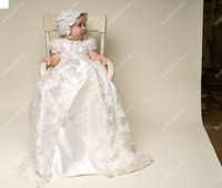 Wholesale Beautiful Silk Dresses - Silk Christening Gowns Long Short Sleeves Lace Overcoat Babies Beautiful First Communion Dresses