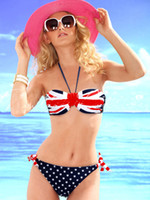 Wholesale Bikini Push Up Star - Women's Star-Spangled Bikini Union Jack Flag Swimwear UK Flag Twist Padded Push Up Halter Bathing Suit Flag Bikini