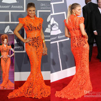 Wholesale Sheath Column Dresse - 2012 Grammy Fergie Orange Lace Mermaid See Through Red Carpet Celebrity Dresse CBD048