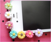 Wholesale Dust Plug Mix - free shipping mix color 3.5cm resin flower Ear Cap Dust Plugs For iPhone iPad Samsung
