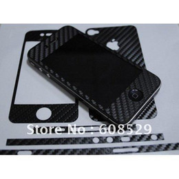 Wholesale Iphone 4s Carbon Fiber Stickers - Full-body carbon fiber sticker for iphone 4s ,Carbon fiber sticker for iphone 4s + MOQ 50pcs free sh