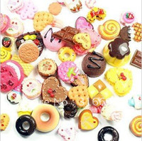 Wholesale Phone Decorating Charms - free shipping mixed Cookie resin gift bag plane decorate mobile phone 120pcs lot