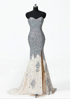Wholesale Evening Dresses Dhgate - 2018 Cheap DHgate Sexy Sweetheart Mermaid Champagne Beaded crystal Evening Dress Prom Dresses s126