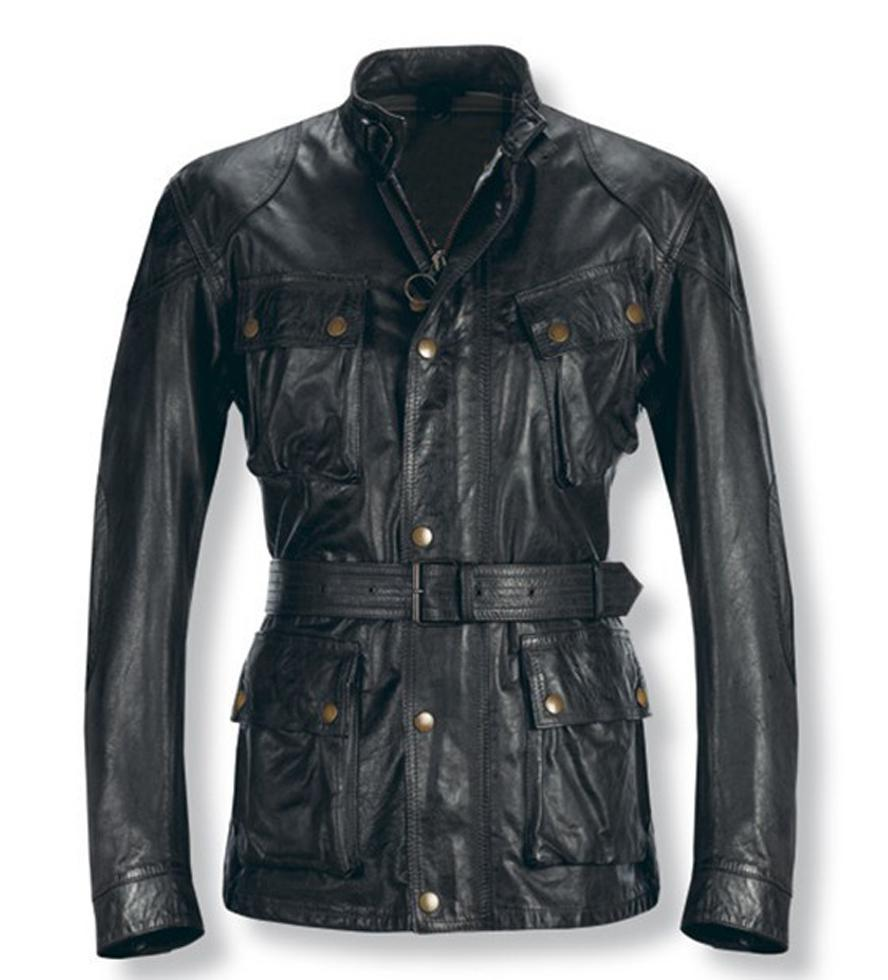 2017 Men Leather Jackets With Belt 4 Square Pockets Golden Metal ...