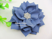 Wholesale Kanzashi Hair Clips - Winter Big Peony Flowers Hair Clip with Sparking Button Kanzashi Fabric Flowers Hair Accessories 40PCS LOT BY QueenBaby