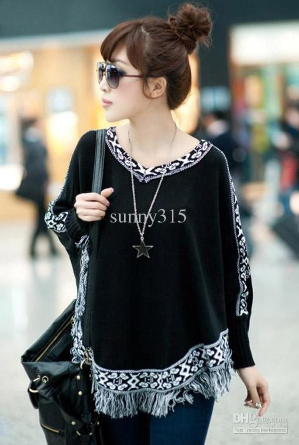 Womens chandails Lady plus taille Batwing Sleeve glands frangée cape Poncho cape pull manteau hiver automne vêtements d'extérieur