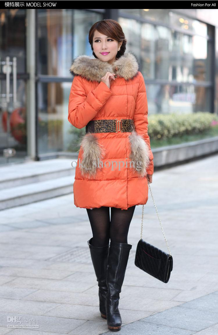 2017 Winter Down Coat Womens Orange Down Coats Lady Fashion Long ...