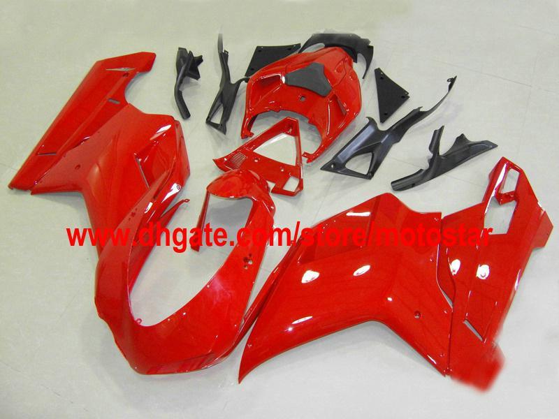 Todas as feiras vermelhas adequadas para Ducati 848 1098 1198 1098S 1198S 2007-2010 Ajuste de moldagem por injeção Aceitar personalizar