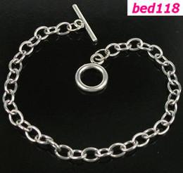 Wholesale Charm Bracelet Chain Links - Hot ! 10pcs Stainless Steel Chain Bracelet Fit Dangles Charms 17-21cm
