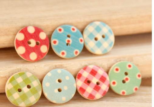 Houten knoppen DIY naaien Craft dot check fashion fastener scrapbooking kleding onderdelen
