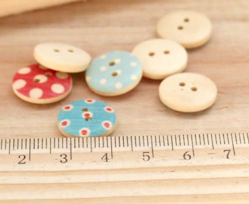 나무 버튼 DIY 재봉예 도트 체크 패션 패스너 스크랩북 의류 부품