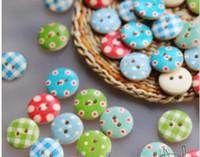 boutons d'artisanat achat en gros de-Boutons en bois bricolage couture artisanat point vérifier la mode fixation Scrapbooking vêtements pièces