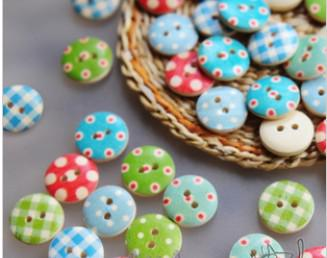 Wooden buttons DIY sewing craft dot check Fashion fastener Scrapbooking Clothes parts