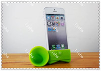 Wholesale Iphone Horn Amplifier - DHL Free Silicone Horn Stand Sound Voice Amplifier Speaker Loudspeaker CASE for iPhone 4 4S 5 5G 5S