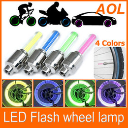 Wholesale Lighting Stem - Flash flashing fire flys LED Tyre Light Car motorcycle Bike Tyre Wheel Valve sealing Cap Stem
