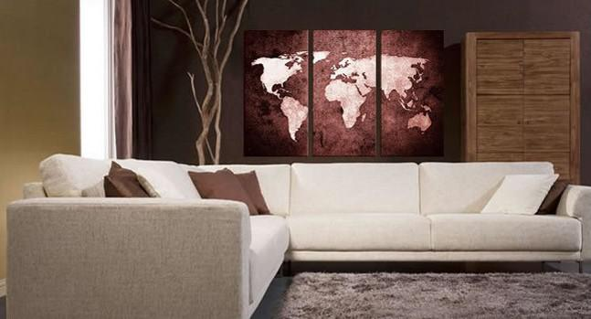 2017 Oil Painting Canvas Abstract World Map Artwork Handmade Home