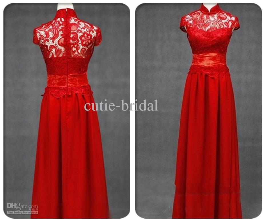 High Neck Lace Modest Bride Evening Dress Red Formal Occasion ...