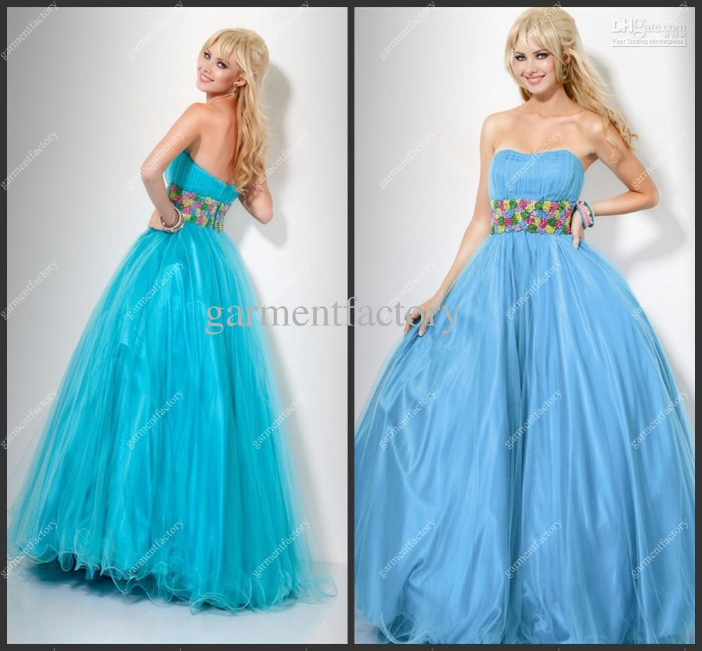 Uk Puffy Prom Dress Strapless Empire Long Light Blue Organza Ball ...