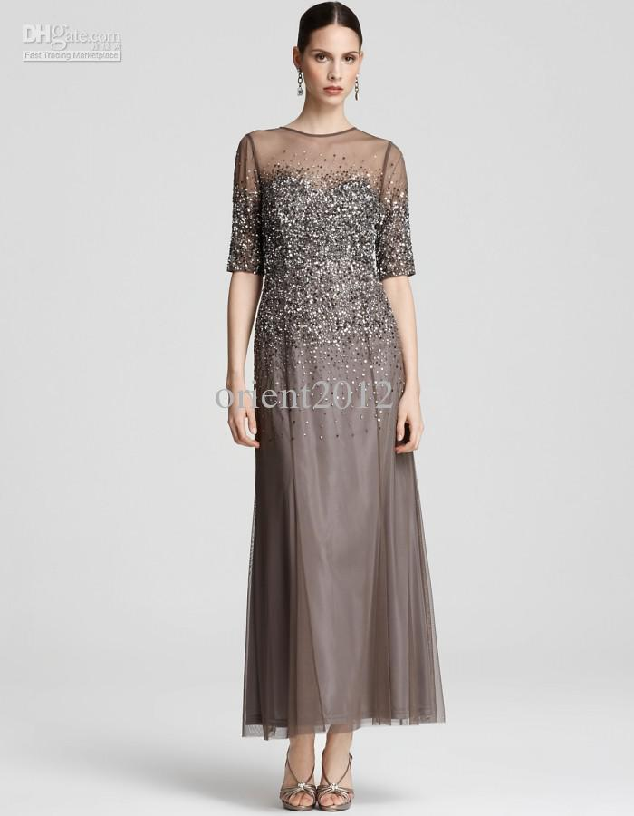 2016 Dazzing Short Sleeve Ruffle Sheath Gray Evening Gowns Beaded ...