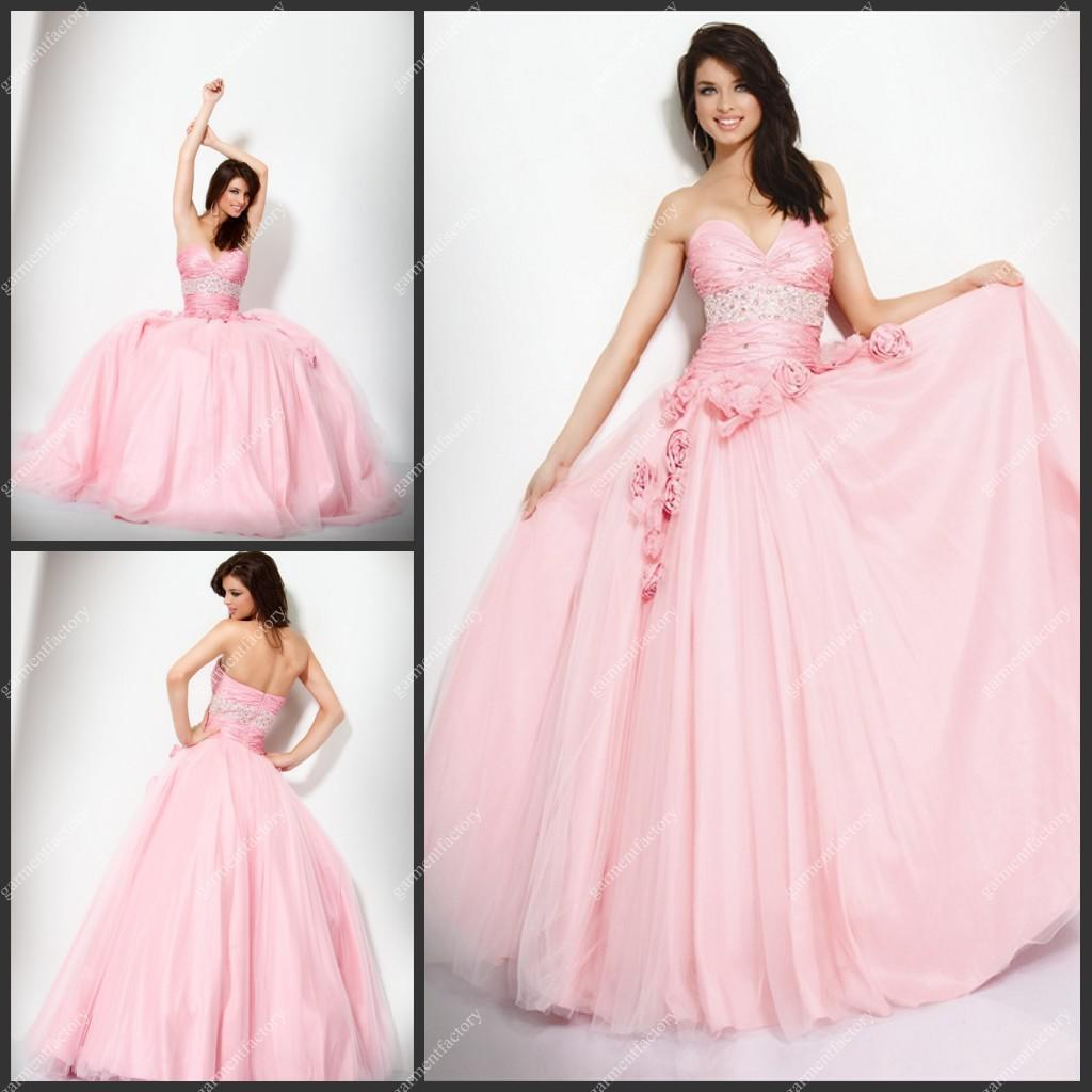 Uk Puffy Prom Dress Sweetheart Neckline Baby Pink Organza Ball Gown ...