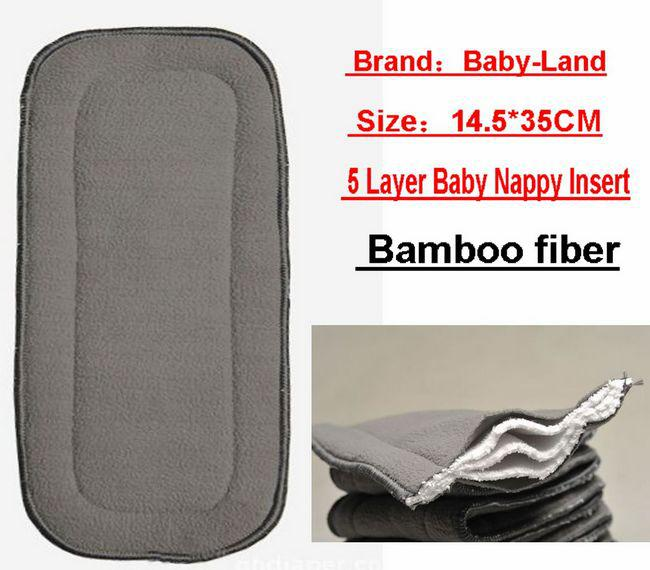 Bamboo Fiber 5 Layer Nappy Liners Baby Cloth Diaper Inserts Pads