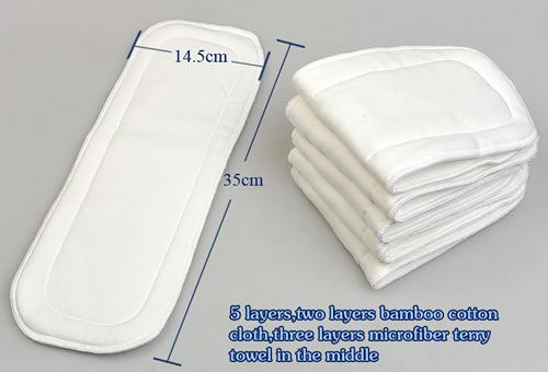 best selling Bamboo Fiber 5-layer Nappy Liners Baby Cloth Diaper Inserts Pad Liner Cloth Nappies Liners 35*17.5CM