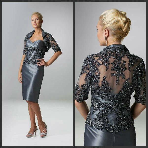 Großhandel Dark Silver Taft Plus Size Mutter Braut Kleider Mit 3/4 ...