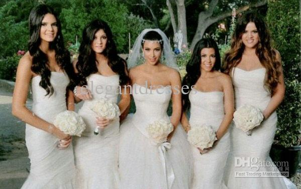 Kim Kardashian 긴 기차 Strapless 아름다운 Tulle 웨딩 웨딩 드레스 WD179