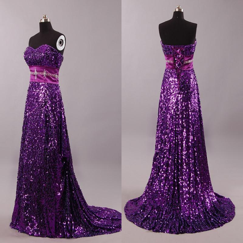 Best Seling Purple A Line Sweetheart Beaded Waist Sequin Sparkle
