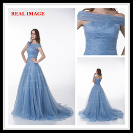 Wholesale Trends Dressing - 2015 Fashion Trend Portrait Ball Gowns Pleated Bling Organza Evening Dresses Court Train MZ008