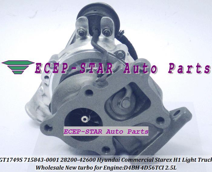 GT1749S 28200-42600 715843-5001S 715843-0001 Turbo Turbin Turbocharge för Hyundai Starex H-1 H-100 H200 Bongo 2.5L Motor: 4d56 TCI D4BH