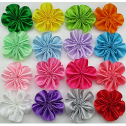 Wholesale Diy Mini Hair Bow - 200pcs lot Mini Ribbon Single Flowers,baby girls Hair Accessories,Many colors for your DIY,flowers for kids headband headwear HH018