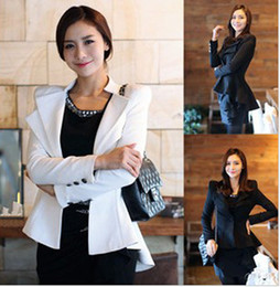 Wholesale High End Tuxedos - Women Coat High-end Slim One Button Blazers & Suits Tuxedo Ladies Clothing Lapel Tunic Jacket Suit Outerwear