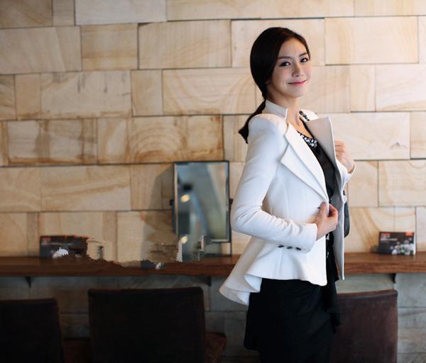 여성 코트 하이 엔드 슬림 원 버튼 블레 이저 정장 턱시도 숙녀 의류 옷깃 튜닉 자켓 정장 아우터웨어