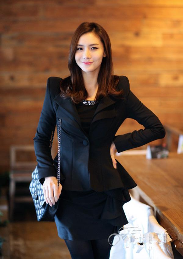 Kvinnor Coat High-end Slim One Knapp Blazers Passar Tuxedo Ladies Kläder Lapel Tunika Jacka Dräkt Ytterkläder