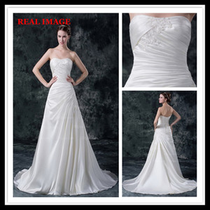 2015 A Line White Sweetheart Wedding Dresses Satin Court Train Pleated Appliques Bridal Gowns MZ017 on Sale