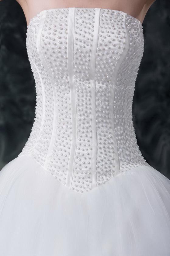 2016 White Strapless Trouwjurken Kralen Parels Boned Bodice Baljurken Lace Up Sweep Trein MZ019